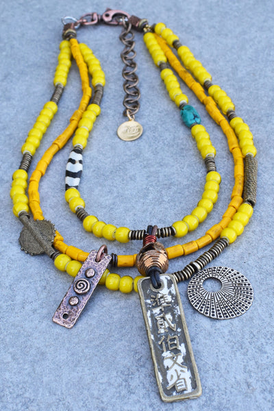 African Inspired Yellow Glass and Mixed Media Pendant Tribal Necklace