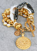 Elegant Versace Style White, Black and Gold Tribal Sun Charm Bracelet