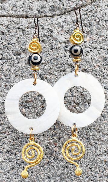 Elegant Versace Style White, Black and Gold Shell Hoop Spiral Earrings