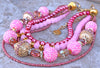 Glitz and Glam Pink, Gold, Crystal & Copper Holiday Statement Necklace