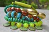 Lush Green, Blue, Turquoise, Copper & Gold Coin Charm Fringe Bracelet
