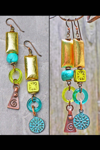 Vibrant Lime Green, Turquoise Blue and Gold Artisan Dangle Earrings