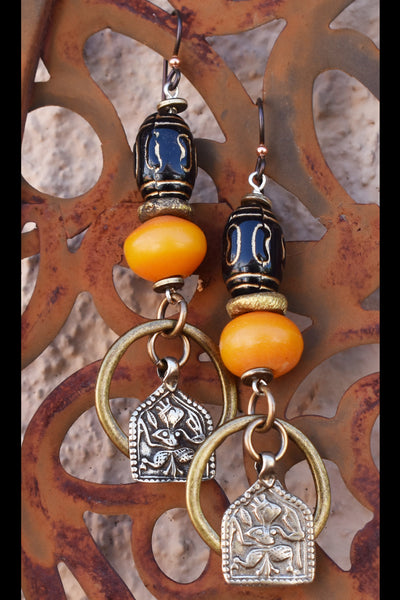 Exotic African Inspired Copal Resin and Indian Charm Hoop Earrings