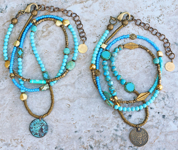 Custom Long Bohemian Mixed Blues, Brass and Verdigris Coin Necklaces