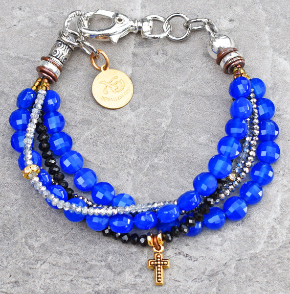 Custom Sapphire Agate  and Crystal Cross Charm Friendship Bracelet $95