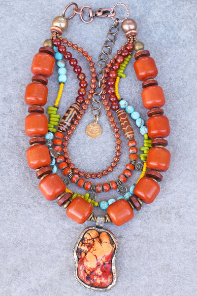 Enchanting Orange, Blue, Yellow and Green Rustic Rock Pendant Necklace