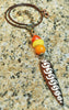 Orange, Yellow, Brass and African Bone Arrowhead Talisman Necklace
