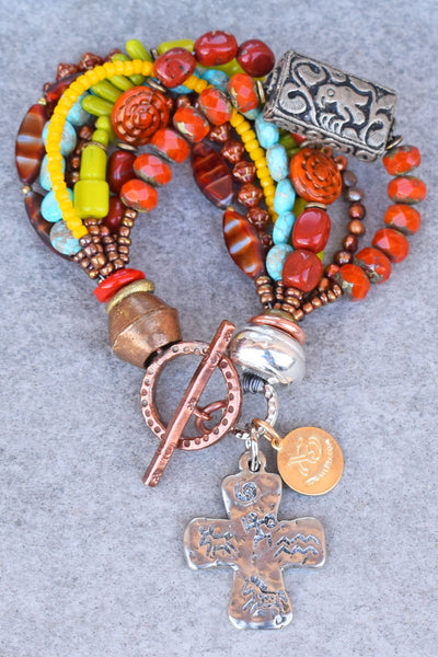 Enchanting Orange, Blue, Yellow and Green Rustic Cross Charm Bracelet