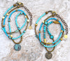 Custom Long Bohemian Mixed Blues, Brass and Verdigris Coin Necklace