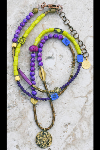 Custom Long Bohemian Mixed Purples, Lime Green and Brass Coin Necklace