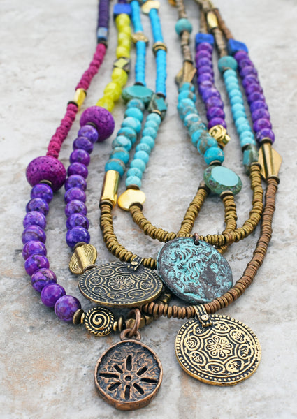 long boho coin pendant necklaces
