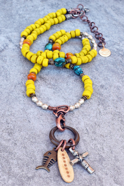 Long Yellow Glass, Turquoise and Mixed Metals Tribal Charm Necklace