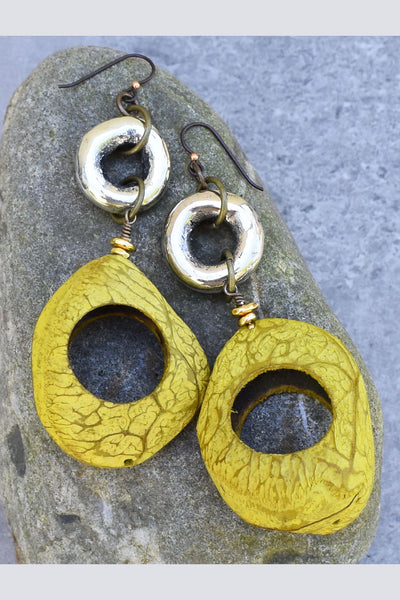 Unique Chartreuse Pangi Seed and Silver Ring Statement Earrings