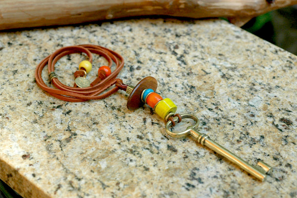 Orange, Yellow, Turquoise, Leather and Brass Key Talisman Necklace