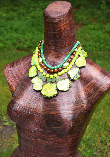 Lush Green Magnesite, Turquoise, Gold and Copper Statement Necklace