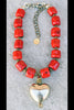 Bold Vibrant Gorgeous Red Bamboo Coral and Silver Heart Pendant Choker
