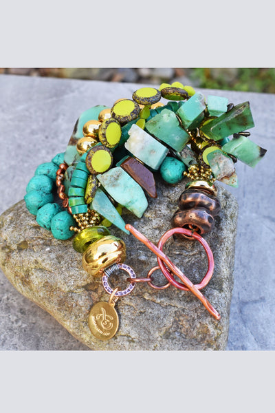 Stunning Green Amazonite, Turquoise, Lime and Gold Statement Bracelet
