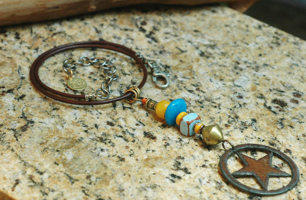 Blue, Yellow, African Brass, Leather and Iron Star Talisman Necklace