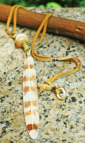 Natural Tan Wood, Brass, Leather and Bone Feather Talisman Necklace