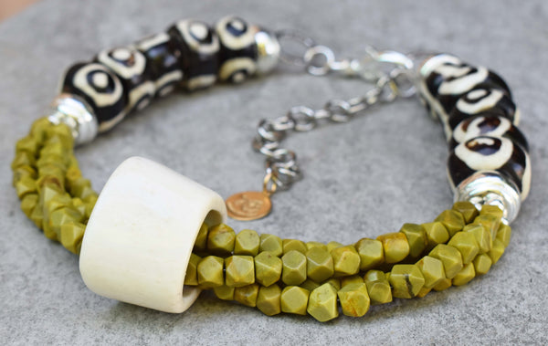 Tribal Style African Bone, Green Serpentine and Silver Choker Necklace