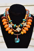 Ethnic and Exotic Tibetan Amber & Turquoise Statement Choker Necklace