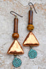 Unique Copper Triangles, Brown Bone and Verdigris Coin Charm Earrings