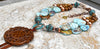 Unique Blue Terra Agate, Copper & Brown Carved Jade Medallion Necklace