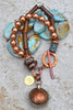 Unique Blue Terra Agate, Brown Bone & Copper Bhutan Charm Bracelet