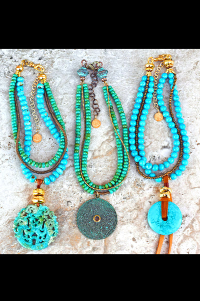 Blue and Green Turquoise Stone, Bone, Brass and Gold Pendant Necklaces