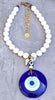 Greek Evil Eye Pendant Necklace with cross and bull skull