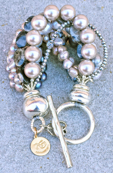 Custom Gray Pearl, Crystal, Jasper and Silver Chunky Statement Bracelet