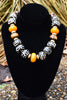 African Inspired Tribal Batik Bone and Amber Resin Choker Necklace
