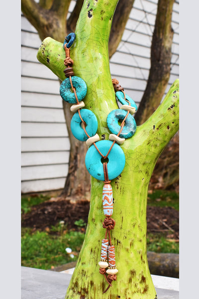 Designer Turquoise Disc, Terra Cotta & Leather Tassel Pendant Necklace