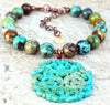 Enchanting Gorgeous Hubei Blue Green Turquoise & Jade Amulet Necklace