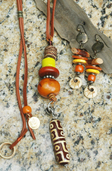 Tibetan Inspired dZi Bead Talisman Necklace and Totem Statement Earrings