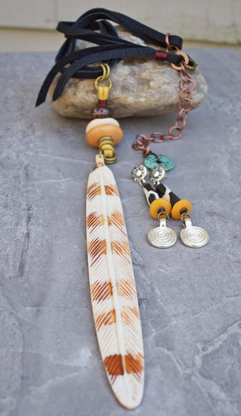 Boho Feather Pendant Necklace on Leather and Giraffe Print Coin Earrings