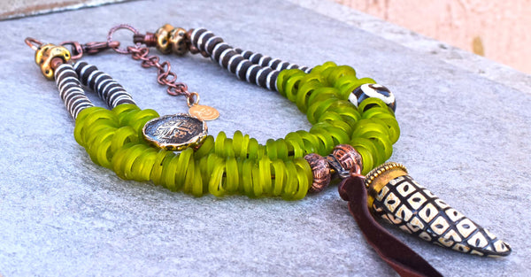 African Lime Green Dogon Glass, Ebony Wood & Tribal Horn Necklace