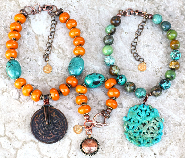 Enchanting Tibetan Amber and Turquoise Jewelry