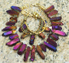 Captivating Purple Titanium Quartz Fringe Statement Necklace & Bracelet