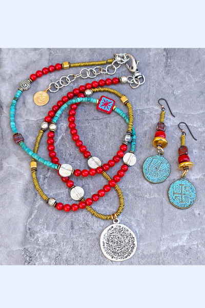 long bohemian coral and turquoise necklace and earrings set