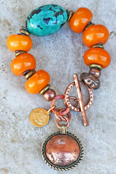 Bold Tibetan Turquoise, Amber Resin and Bhutan Copper Coin Bracelet
