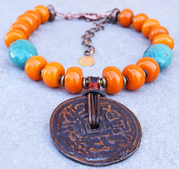 Bold Tibetan Turquoise, Amber Resin and Rustic Bronze Coin Necklace