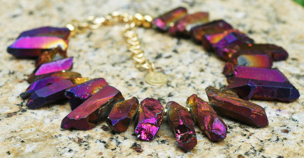 Captivating Purple Titanium Quartz Crystal Fringe Statement Necklace