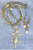 mixed metals tuareg cross boho chic long necklace and earrings set