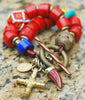 Bold and Chunky Red Cross Tusk Charm Statement Bracelet