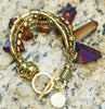 Captivating Titanium Quartz and Gold Statement Fringe Purple Bracelet