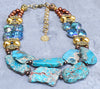 Brilliant Blue Crystal, Aqua Jasper, Pearl and Gold Statement Necklace