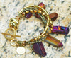 Captivating Purple Titanium Quartz and Gold Fringe Statement Bracelet