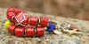 Bold and Chunky Red Tibetan Glass Cross Tusk Charm Statement Bracelet