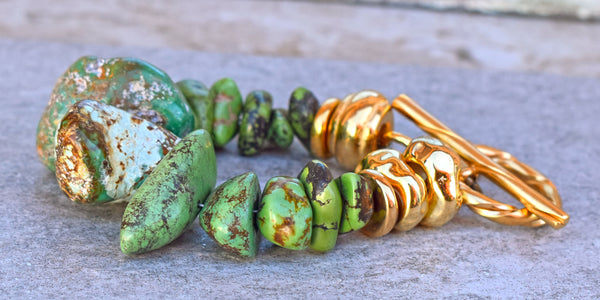 Bold Chunky Green Turquoise Nugget and Grecian Gold Statement Bracelet